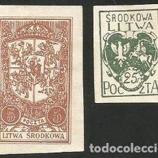 Sellos: LITUANIA CENTRAL (POLONIA) 1921 - 2 SELLOS USADOS SIN MATASELLOS. Lote 163985838