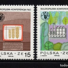 Sellos: POLONIA 2963/64** - AÑO 1988 - CONFERENCIA REGIONAL EUROPEA DE LA F.A.O.. Lote 210798144