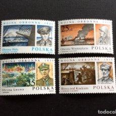 Sellos: POLONIA Nº YVERT 3020/3*** AÑO 1989. 45 ANIVERSARIO GUERRA DE DEFENSA CONTRA EL INVASOR(VI). Lote 174191505