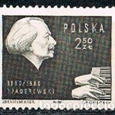 Sellos: POLONIA Nº 1173, CENTENARIO DE IGNACY PADEREWSKI, PIANISTA Y COMPOSITOR, MUSICA PARA CINE, NUEVO ***. Lote 176579427