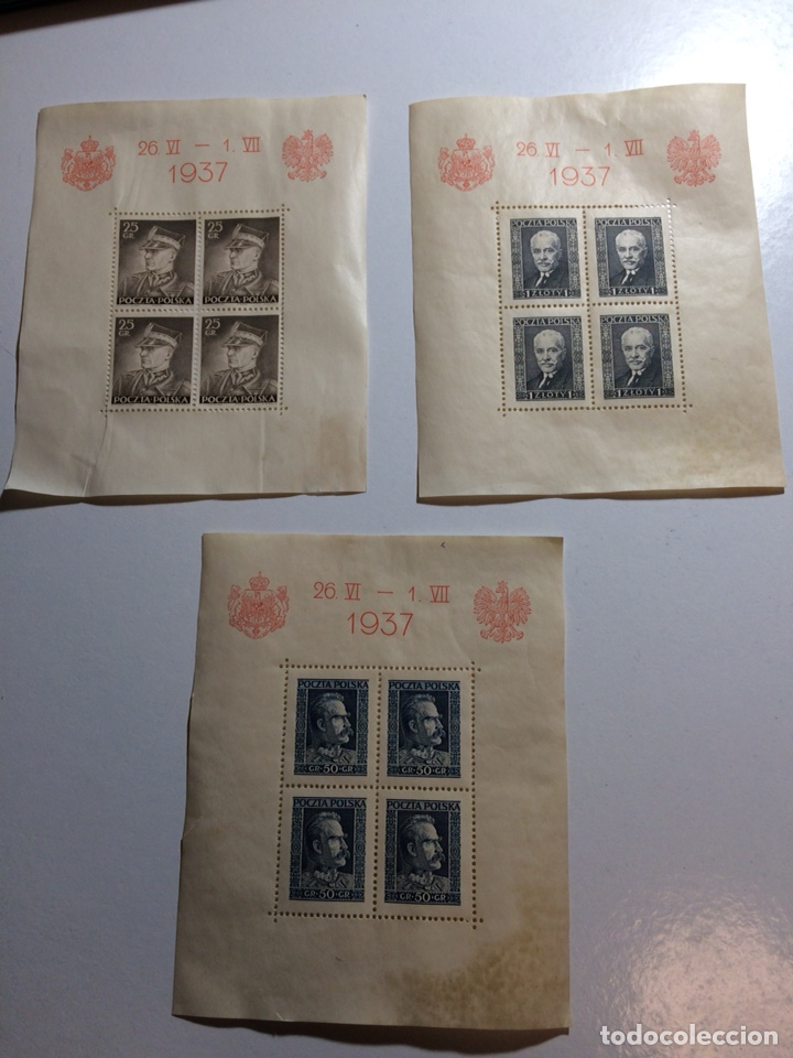 3 HOJITAS BLOQUE POLONIA 1937 (VER DESCRIPCIÓN) (Sellos - Extranjero - Europa - Polonia)