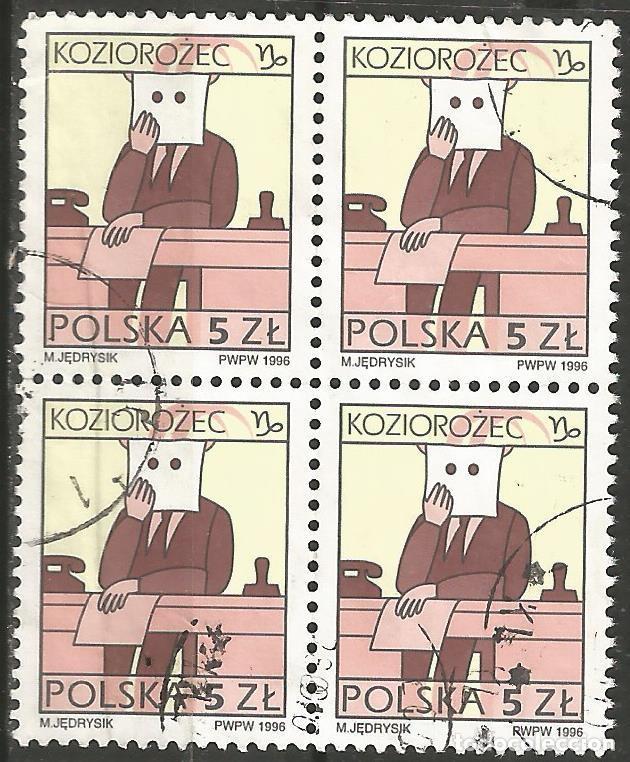POLONIA - CAPRICORNIO (KOZIOROZEC) 1996 - BLOQUE DE 4 SELLOS USADOS (Sellos - Extranjero - Europa - Polonia)
