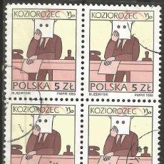 Sellos: POLONIA - CAPRICORNIO (KOZIOROZEC) 1996 - BLOQUE DE 4 SELLOS USADOS. Lote 193998397