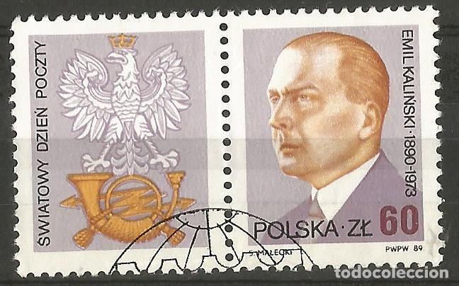 POLONIA 1989 - EMIL KALINSKI - SELLO CON VIÑETE - USADO (Sellos - Extranjero - Europa - Polonia)