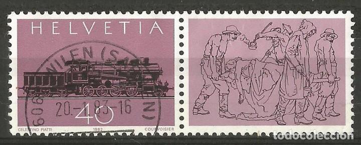 SUIZA - SELLO DE 1982 - LOCOMOTOTORA DE VAPOR CON VIÑETE - USADO (Sellos - Extranjero - Europa - Polonia)