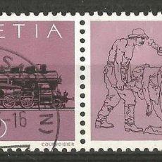 Sellos: SUIZA - SELLO DE 1982 - LOCOMOTOTORA DE VAPOR CON VIÑETE - USADO. Lote 194027662