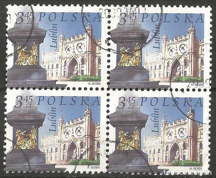 POLONIA - IGLESIA DE LUBLIN - BLOQUE DE 4 SELLOS USADOS (Sellos - Extranjero - Europa - Polonia)
