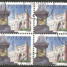 Sellos: POLONIA - IGLESIA DE LUBLIN - BLOQUE DE 4 SELLOS USADOS. Lote 194339578