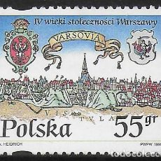 Selos: POLONIA. 1996. MNH. 400 ANIVERSARIO DE VARSOVIA. Lote 197104907