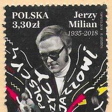 Selos: POLONIA 2019 MNH. MÚSICOS POLACOS DE JAZZ - JERZY MILIAN. Lote 197325600