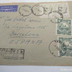 Sellos: KRAKOW 1960 CIRCULADO CARTERIA BARCELONA SOBRE HENRYK JORDAN MEDICINA OBSTRETICIA. Lote 198621442