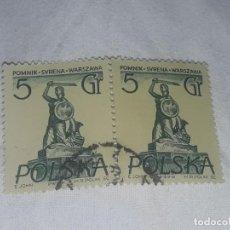 Sellos: ANTIGUO BLOQUE 2 SELLO POLONIA POLSKA 5GR USADO SIRENA-MONUMENTO EN VARSOVIA AÑO 1955. Lote 199073332