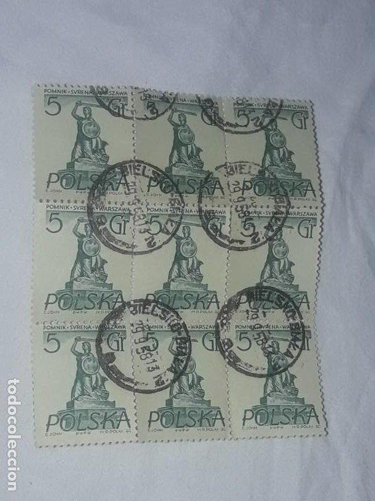 Sellos: Antiguo bloque 9 sello Polonia Polska 5gr usado Sirena-Monumento en Varsovia año 1955 - Foto 2 - 199073637