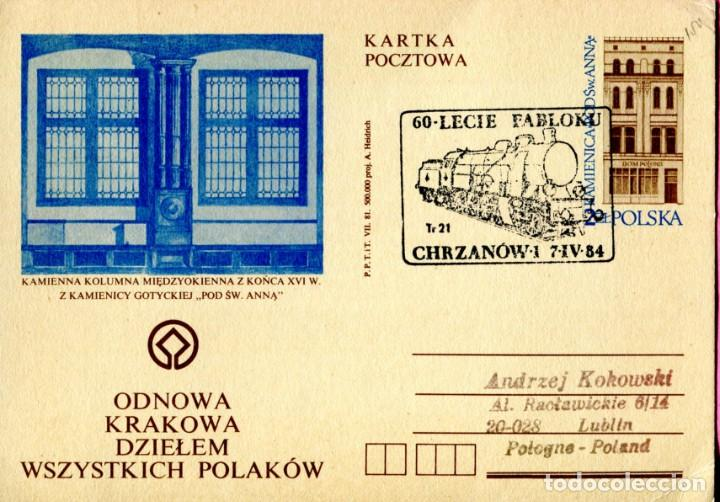 LOCOMOTORA - POLONIA - 1984 - MATASELLO EN ENTERO POSTAL TEMA TRENES (Sellos - Extranjero - Europa - Polonia)