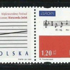 Sellos: POLONIA,MNH, MÚSICA, EUROPA CEPT 1998 (FOTOGRAFÍA REAL). Lote 202598552