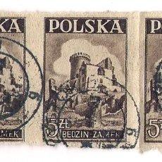 Sellos: POLONIA - CASTILLO BEDZIN - MICHEL Nº 441 - 3 SELLOS JUNTOS SIN DIENTES DE 1947 - USADOS,BUEN ESTADO. Lote 207140443