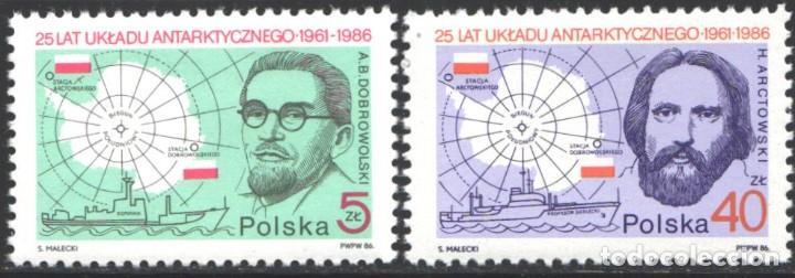 POLONIA, 1986 YVERT Nº 2843 / 2844 /**/, ANTÁRTIDA, AB DOBROWOLSKI, BARCO DE INVESTIGACIÓN KOPERNIK (Sellos - Extranjero - Europa - Polonia)