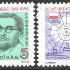 Timbres: POLONIA, 1986 YVERT Nº 2843 / 2844 /**/, ANTÁRTIDA, AB DOBROWOLSKI, BARCO DE INVESTIGACIÓN KOPERNIK. Lote 207562600