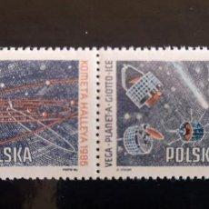 Sellos: POLONIA 1986 IVERT 2824/5 PASAJE DEL COMETA HALLEY SERIE COMPLETA NUEVA. Lote 217090351