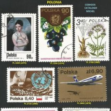 Sellos: POLONIA 1974 A 1980 - LOTE VARIADO (VER IMAGEN) - 9 SELLOS USADOS. Lote 218012547