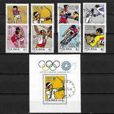 Sellos: POLONIA,1972,JUEGOS OLÍMPICOS DE MUNICH,USADOS, YVERT 1995-2002 Y HB 57. Lote 218247221