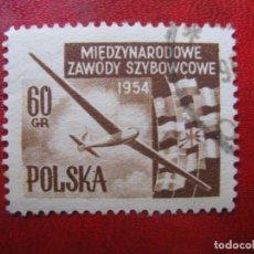 Timbres: +POLONIA, 1954, CAMPEONATOS INTERNACIONALES DE VUELO, YVERT 753. Lote 223043732