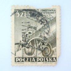 Sellos: SELLO POSTAL POLONIA 1952, 3 ZT, TRABAJOS DE CEMENTO EN WIERZBICA, USADO. Lote 231947865