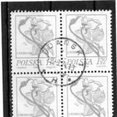 Sellos: POLONIA / POLAND / SELLOS EN BLOQUE DE 4 USADO. Lote 232380020