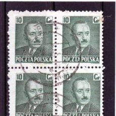 Sellos: POLONIA / POLAND / SELLOS EN BLOQUE DE 4 USADO. Lote 232380120