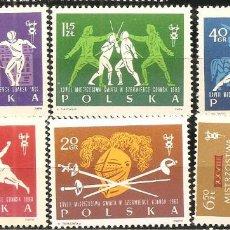 Sellos: POLONIA, YVERT 1271/6, ESGRIMA 1963, NUEVO, SIN SEÑAL DE FIJASELLOS. Lote 234331910
