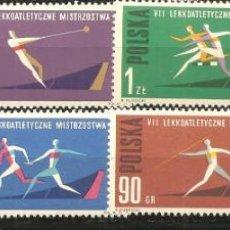 Selos: POLONIA, YVERT 1198/205, DEPORTES 1962, NUEVO, SIN SEÑAL DE FIJASELLOS. Lote 234332415