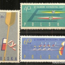 Sellos: POLONIA, YVERT 1117/9, DEPORTES-REMO 1961, NUEVO, SIN SEÑAL DE FIJASELLOS. Lote 234333010