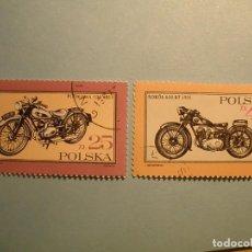 Sellos: POLONIA - MOTOS - MOTOCICLETAS DE ÉPOCA - PODKOWA 100 1939, SOKÓŁ 600 RT 1935.. Lote 236689220