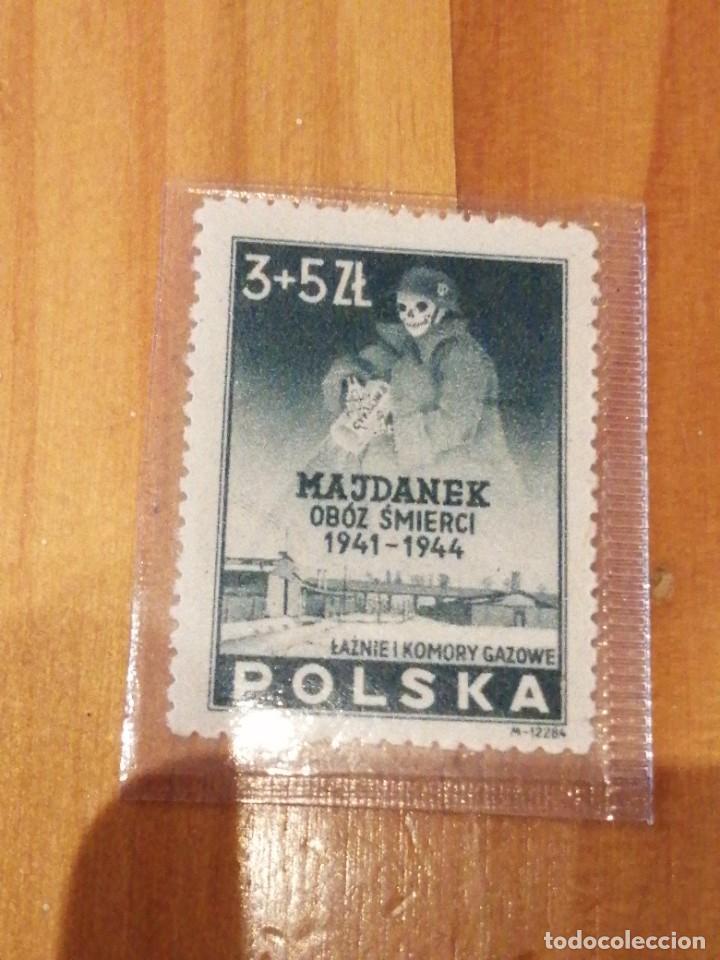 SELLO CAMPO CONCENTRACIÓN MAYDANEK CON SOLDADO SS Y BOTE CYKLON B (Sellos - Extranjero - Europa - Polonia)