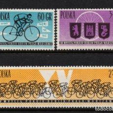 Timbres: POLONIA 1166/68** - AÑO 1962 - VUELTA CICLISTA DE LA PAZ. Lote 249460125