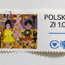 Sellos: SELLO DE POLONIA 1 ZL - 1979 - AÑO DEL NIÑO - USADO SIN SEÑAL DE FIJASELLOS. Lote 267081074