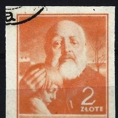 Timbres: POLONIA 1947 - CULTURA POLACA, NUEVOS COLORES,NARANJA, SIN DENTAR - USADO. Lote 274905183