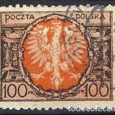 Timbres: POLONIA 1921-22 - ÁGUILA EN ESCUDO GRANDE, 100 M - USADO. Lote 274916858