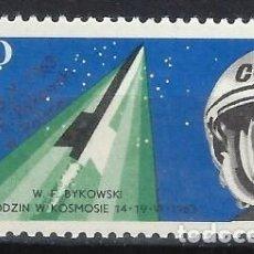Sellos: POLONIA 1963 - 2º VUELO ESPACILA CONJUNTO, VALERY BYKOVSKY Y VOSTOK 5 - MH*. Lote 279366733