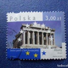 Sellos: *POLONIA, 2008, CAPITALES DE LA UNION EUROPEA, ATENAS, YVERT 4128. Lote 289416368