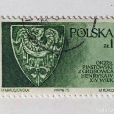 Sellos: SELLO DE POLONIA 1 ZT - 1975 - DINASTIA PIAST - USADO SIN SEÑAL DE FIJASELLOS. Lote 289519173
