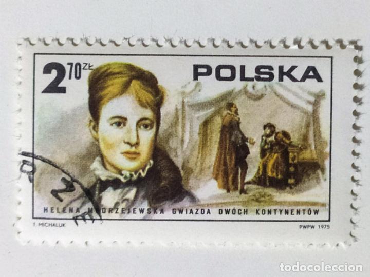 SELLO DE POLONIA 2,70 ZT - 1975 - HELENA MODRZEJEWSKA - USADO SIN SEÑAL DE FIJASELLOS (Sellos - Extranjero - Europa - Polonia)