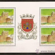 Sellos: PORTUGAL,BLOQUE PROCEDENTE DE CARNET,CASTILLO DE BRAGANÇA.. Lote 15297690