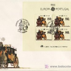 Sellos: PORTUGAL HB 58 PRIMER DIA, TEMA EUROPA, TRANSPORTES Y COMUNICACIONES. Lote 16680025