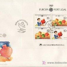 Sellos: PORTUGAL HB 65 PRIMER DIA, TEMA EUROPA, JUEGOS INFANTILES. Lote 21558743