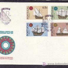 Sellos: PORTUGAL 1482/5 PRIMER DIA, BARCO, LUBRAPEX 80 EXPOSICION FILATELICA LUSO BRASILEÑA. Lote 26073197