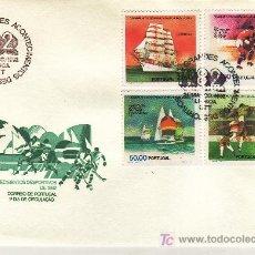 Sellos: PORTUGAL 1537/40 PRIMER DIA, DEPORTE, BARCO, HOCKEY, VELA, FUTBOL, ESPAÑA 82, EVENTOS DEPORTIVOS. Lote 80996488