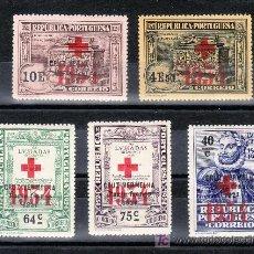 Sellos: PORTUGAL FRANQUICIA 71, 73/6 CON CHARNELA, SOBRECARGA CRUZ ROJA 1934. Lote 27635111