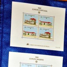 Sellos: LOTE DE 3 HOJAS INDIVIDUALES CON 12 SELLOS: EUROPA-AÇORES - PORTUGAL - 1990 - NUEVAS.. Lote 23296285