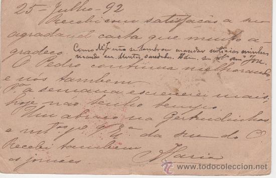 Sellos: TARJETA INDIA PORTUGUESA - 25 JULIO 1892 - Foto 2 - 27564639
